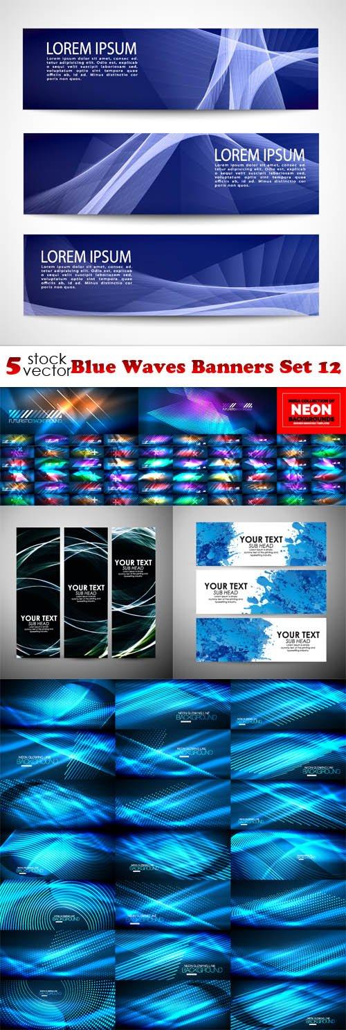 Vectors - Blue Waves Banners Set 12