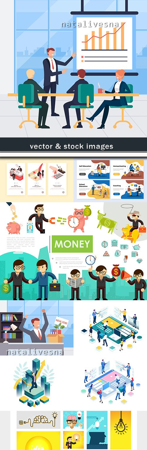 Business successful team work isometric and flat style