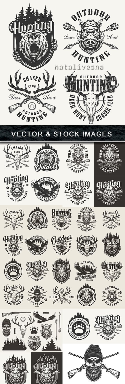 Hunting for wild animals vintage emblem of club