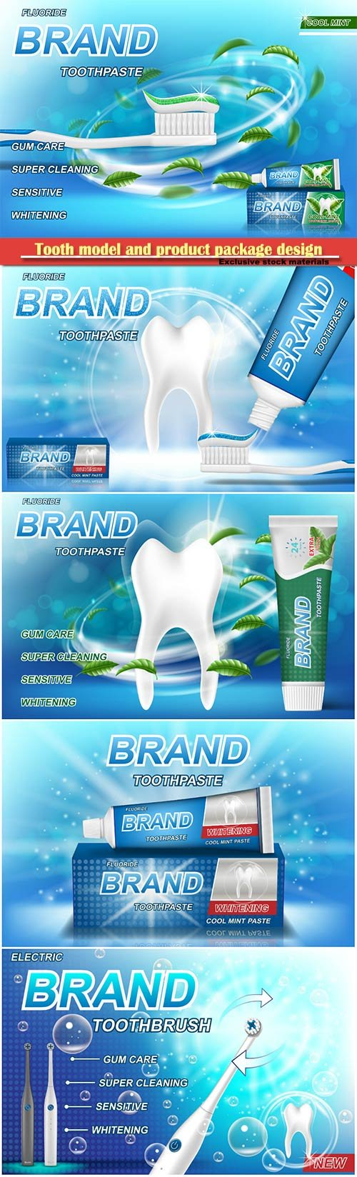 Tooth model and product package design for toothpaste poster or advertising
