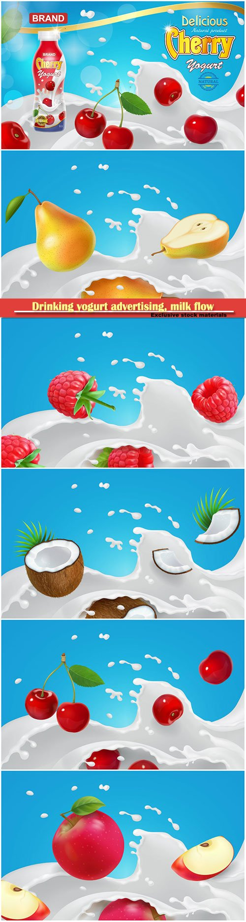 Drinking yogurt advertising,  milk flow and fruits and berries
