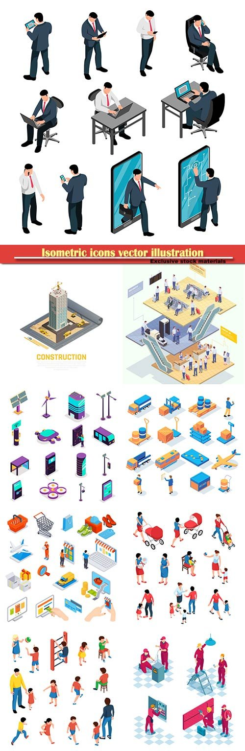 Isometric icons vector illustration, banner design template # 45