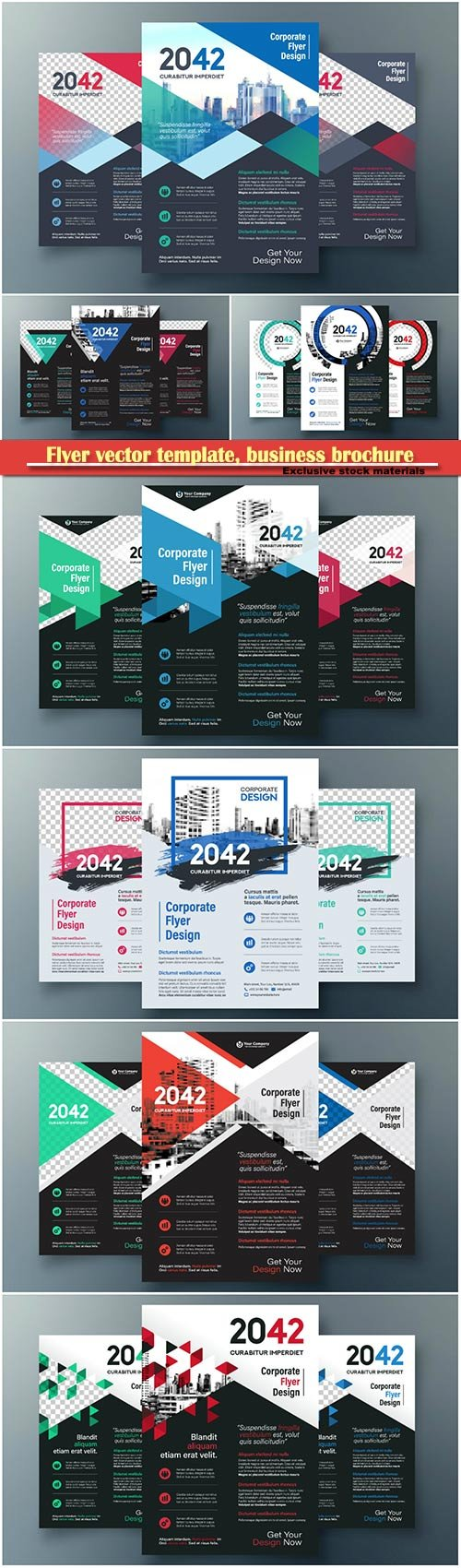 Flyer vector template, business brochure, magazine cover # 41