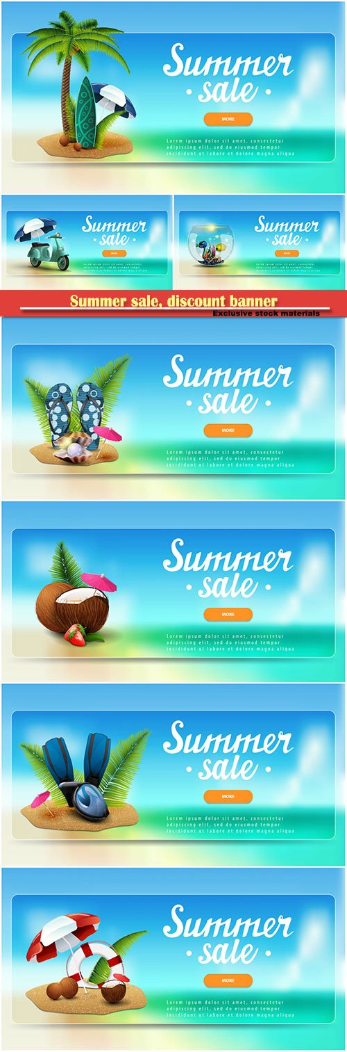 Summer sale, discount banner with lettering, sea landscape