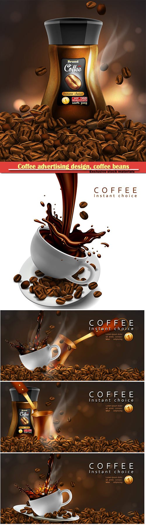 Coffee advertising design, coffee beans, cup of coffee with a splash effect  and a transparent smoke in 3d vector