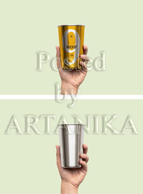 Hand Holding Metal PSD Cup