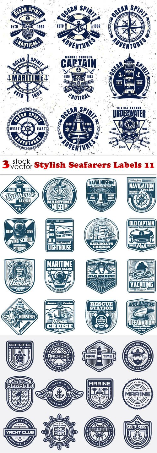Vectors - Stylish Seafarers Labels 11