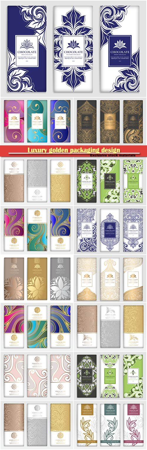 Luxury golden packaging design of chocolate bars, vector illustration