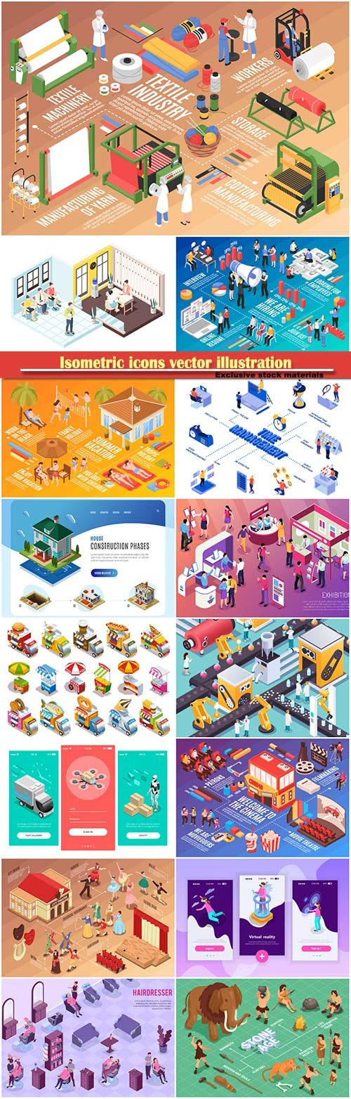 Isometric icons vector illustration, banner design template # 47
