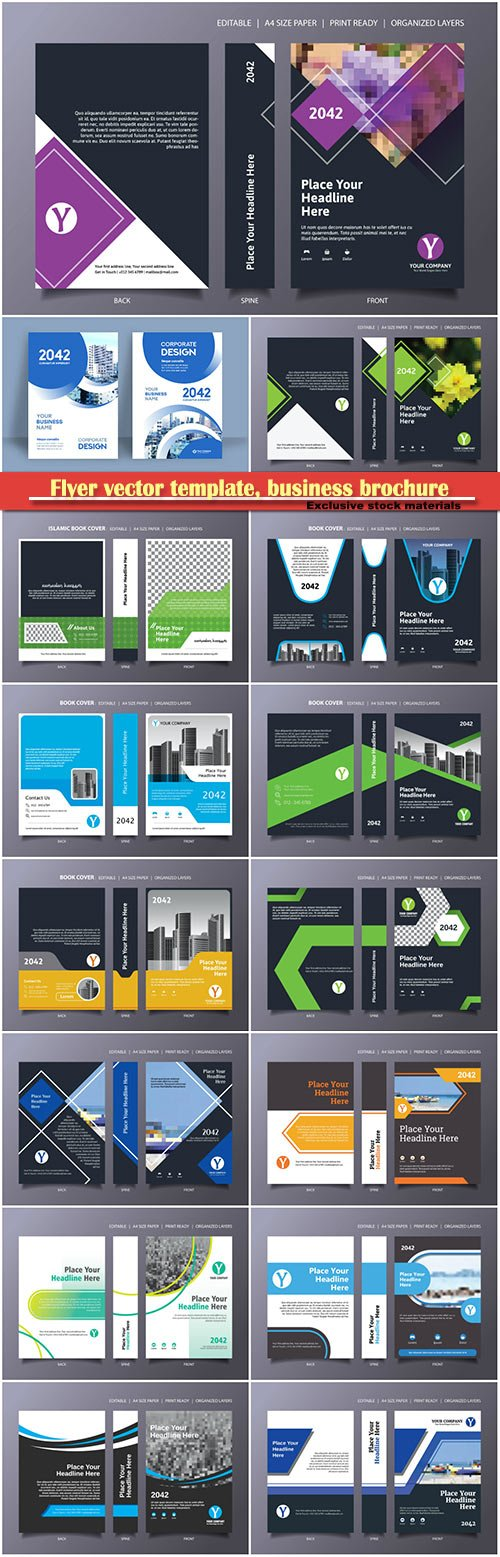 Flyer vector template, business brochure, magazine cover # 42