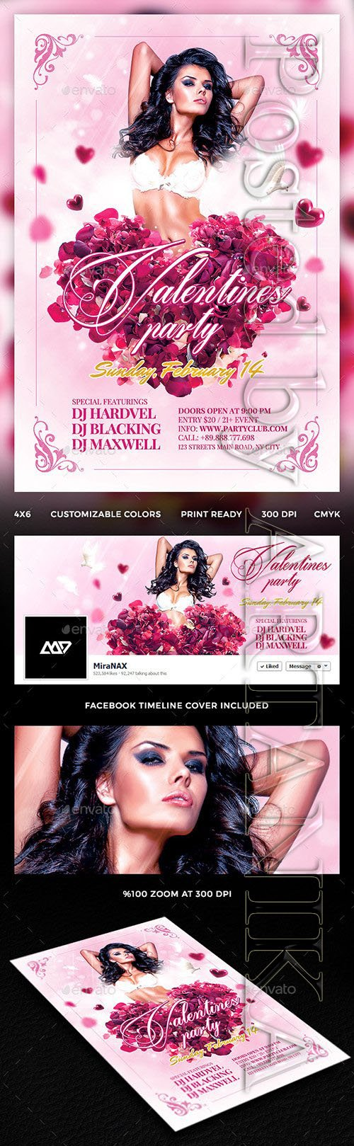 Valentines Party Flyer 14454530