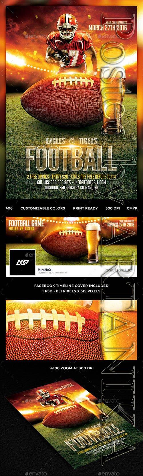 Football Game Flyer Template PSD 12294551