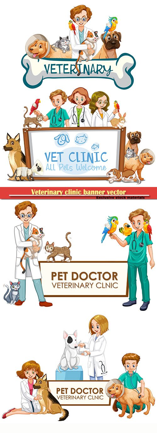 Veterinary clinic banner vector illustration