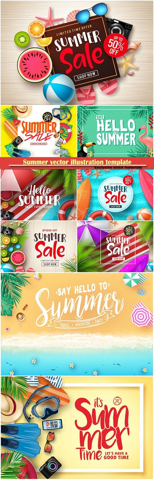 Summer vector illustration template