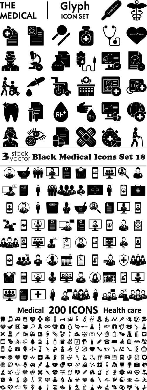 Vectors - Black Medical Icons Set 18