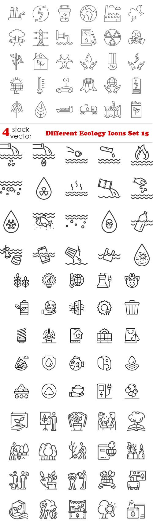 Vectors - Different Ecology Icons Set 15