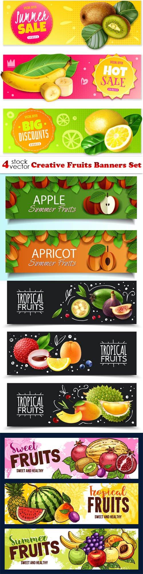 Vectors - Creative Fruits Banners Set