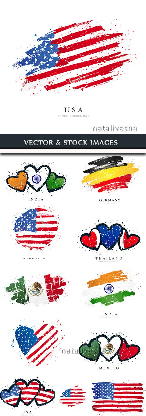 Flags different countries republics country travel symbols