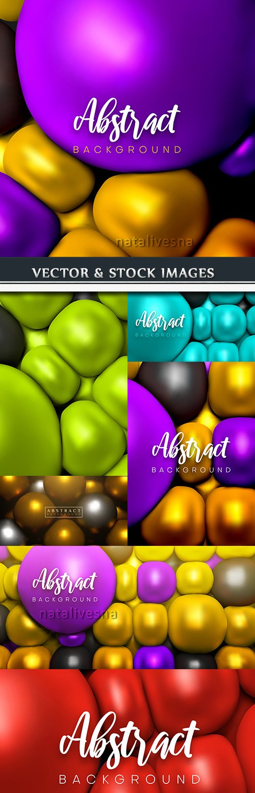 3D bright color geometrical spheres backgrounds