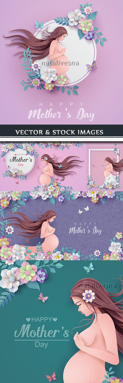 Mother's Day and child gentle flower design illustrations