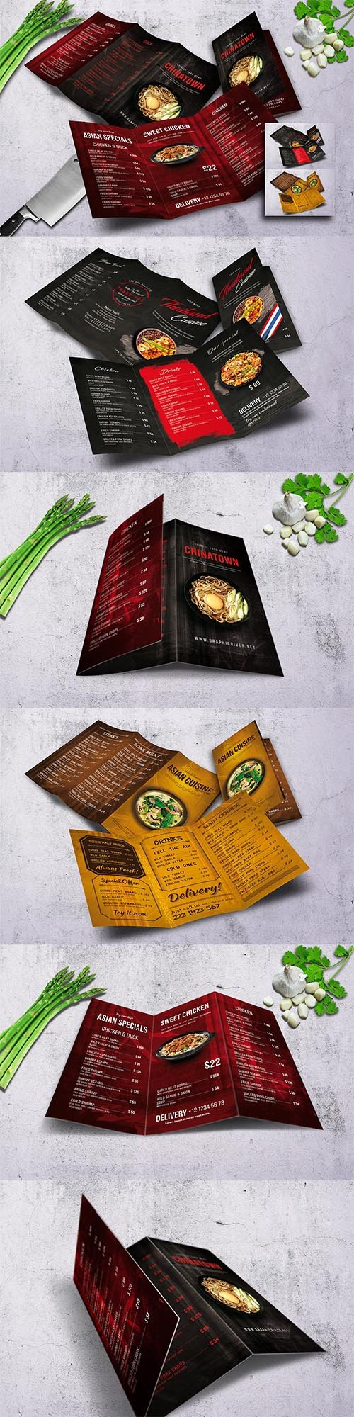 Different Cuisine Trifold Menu Bundle PSD