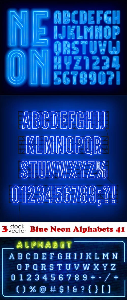 Vectors - Blue Neon Alphabets 41