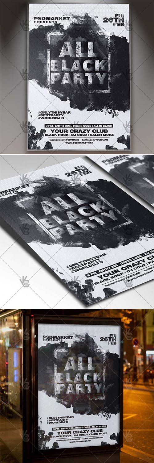 All Black Party ? Club Flyer PSD Template