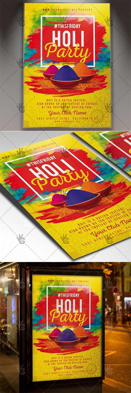 Holi Party ? Club Flyer PSD Template