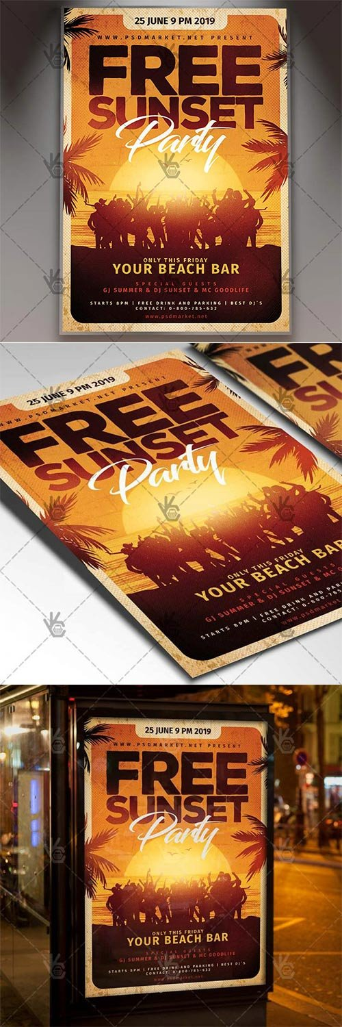 Free Sunset Party Flyer ? Summer PSD Template