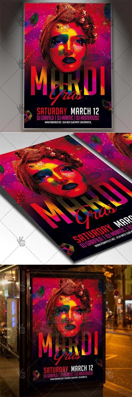 Mardi Gras Celebration ? Carnival Flyer PSD Template