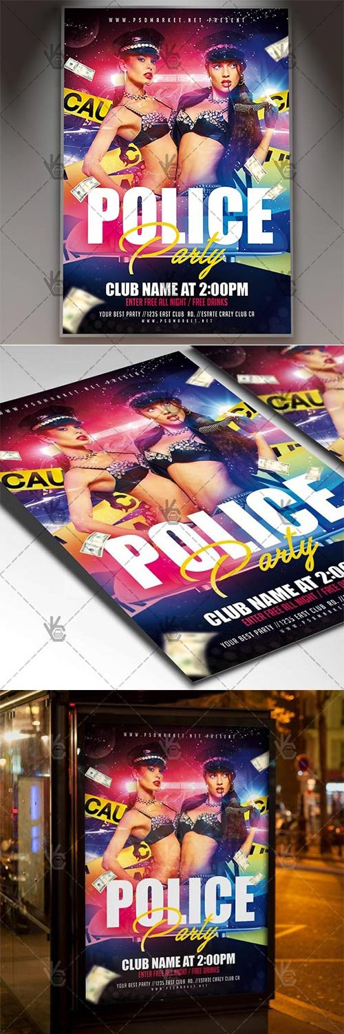 Police Party ? Club Flyer PSD Template