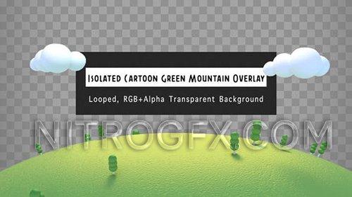 Isolated Cartoon Green Mountain Overlay