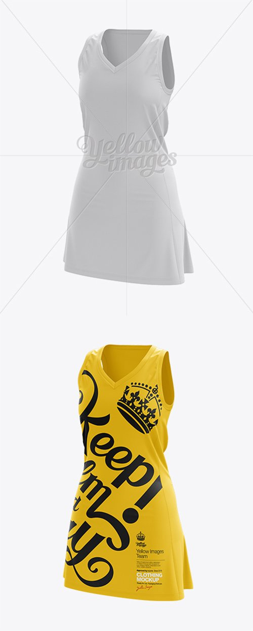 Netball Dress HQ Mockup - Half-Turned View 10761 TIF