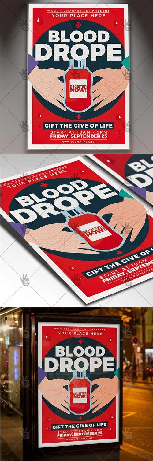 Blood Drope Flyer ? Community PSD Template