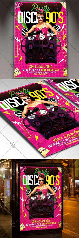 Disco 90s Night ? Club Flyer PSD Template