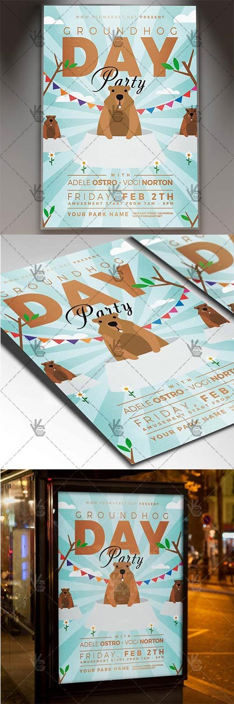 Groundhog Day ? Seasonal Flyer PSD Template