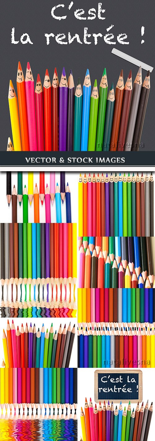 School colored pencils decorative background