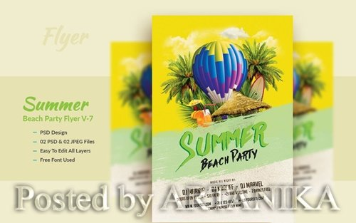 Summer Beach Party Flyer Template V-7
