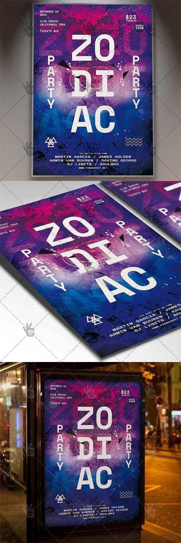 Zodiac Party ? Club Flyer PSD Template