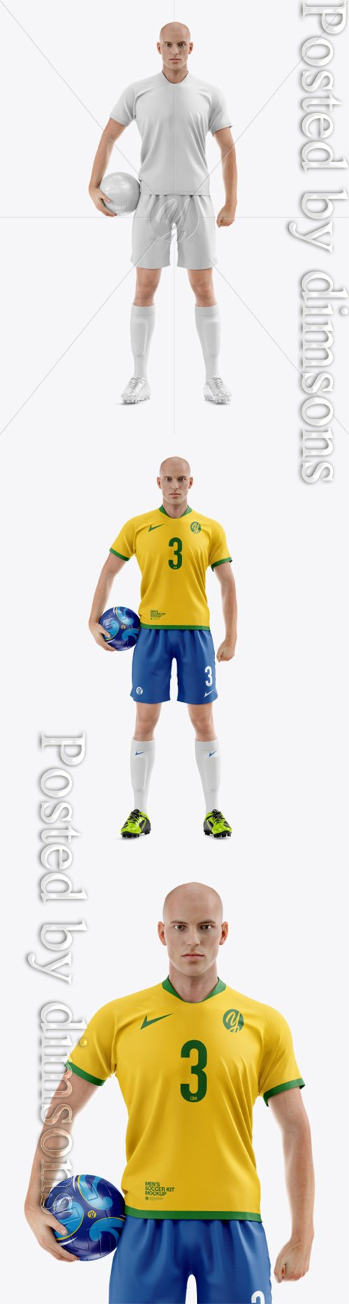 Soccer Player with Ball Mockup 41187 TIF