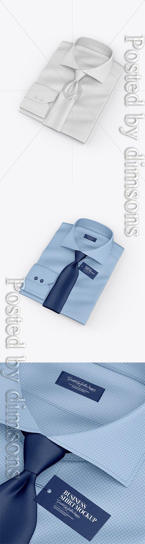 Folded Shirt With Tie Mockup - Half Side View (High-Angle Shot) 25072 TIF