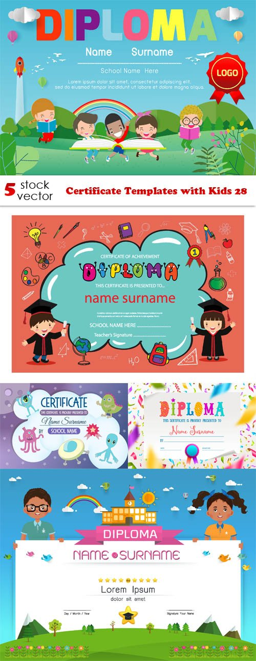 Vectors - Certificate Templates with Kids 28