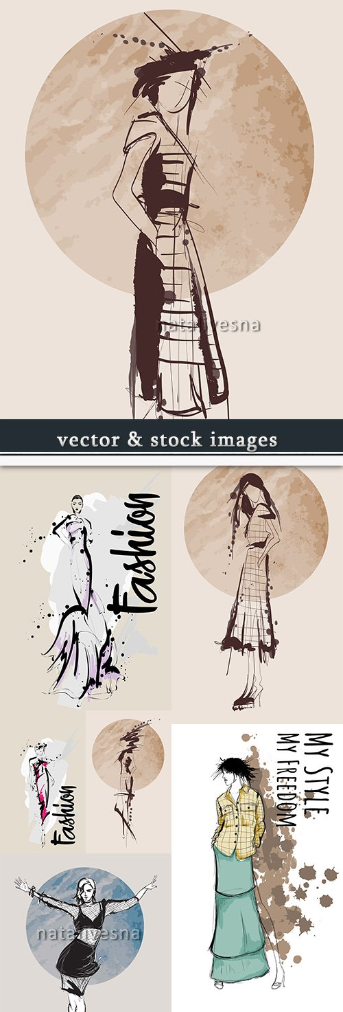 Fashionable girls decorative silhouette vector sketch