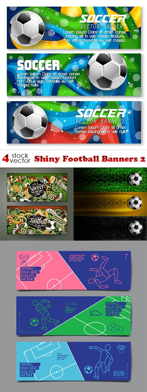 Vectors - Shiny Football Banners 2