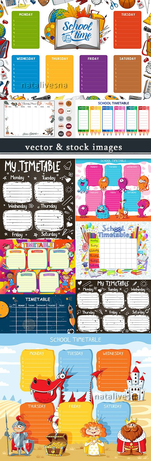 School class timetable collection of illustrations