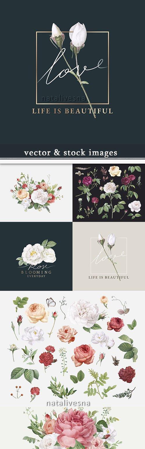 Decorative beautiful vintage flowers design of illustrations