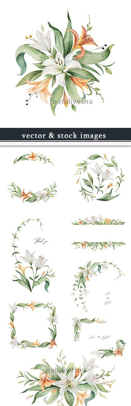 Watercolor lilies decorative design flower invitation