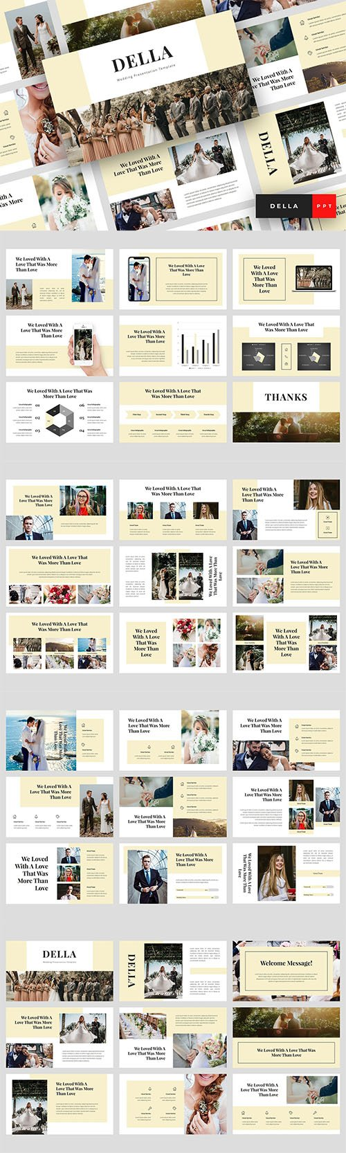 Della - Wedding Powerpoint, Keynote and Google Slides Templates