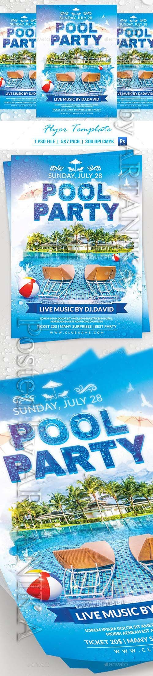 Pool Party Flyer Template 19967044