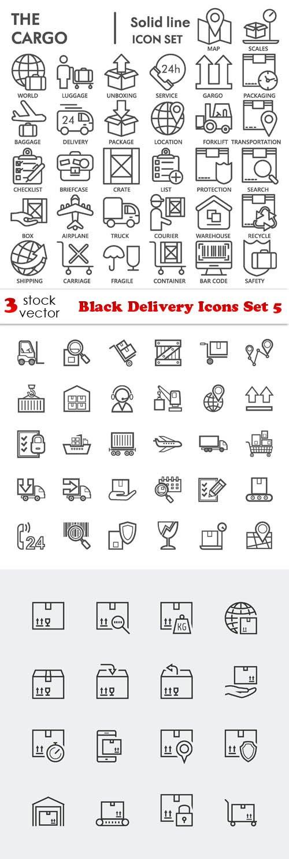 Vectors - Black Delivery Icons Set 5